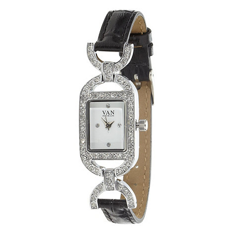 Van Peterson 925 - Ladies black diamante cross over watch