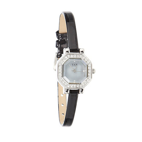 Van Peterson 925 - Ladies black skinny patent strap watch