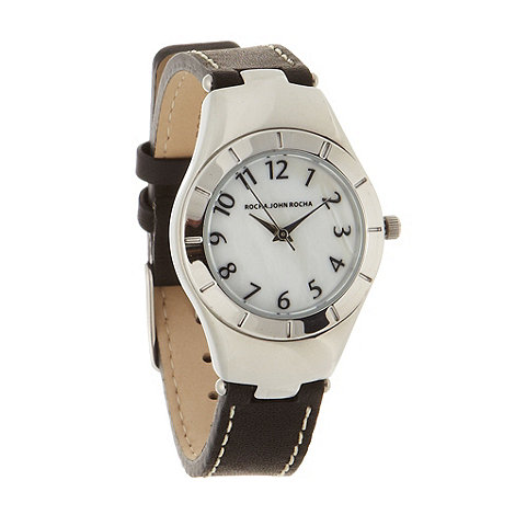 RJR.John Rocha - Designer ladies black leather strap watch