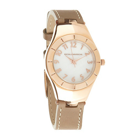 RJR.John Rocha - Designer ladies light brown leather strap watch
