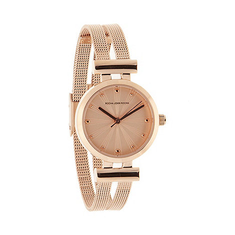 RJR.John Rocha - Designer ladies rose gold split mesh strap watch