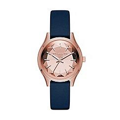Karl Lagerfeld - Ladies blue 'Belleville' quartz leather strap watch