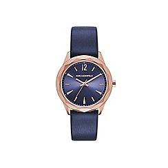 Karl Lagerfeld - Ladies blue 'Optik' quartz leather strap watch