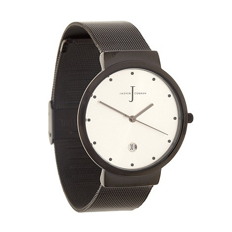 J by Jasper Conran - Men+s designer black stainless steel mesh strap watch