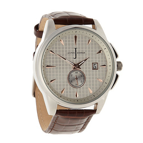 J by Jasper Conran - Designer men+s brown textured face watch
