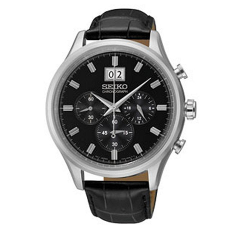 Seiko - Men+s black leather round dial watch
