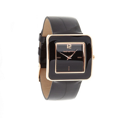 Red Herring - Ladies black patent strap watch