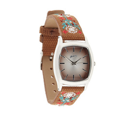 Mantaray - Ladies brown floral embroidered strap watch