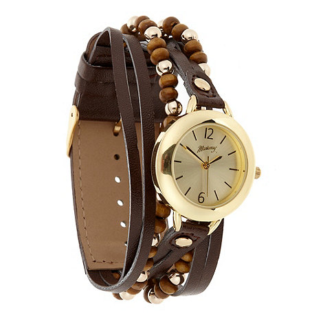 Mantaray - Ladies dark brown beaded strap watch