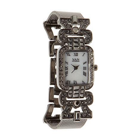 Van Peterson 925 - Ladies black diamante bracelet watch