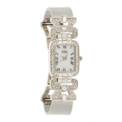 Van Peterson 925 - Ladies silver stone case mesh strap watch
