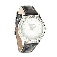 Infinite - Ladies black mock croc mother of pearl watch