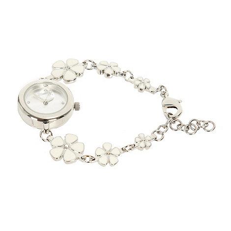 Mantaray - Ladies cream enamel flower bracelet watch
