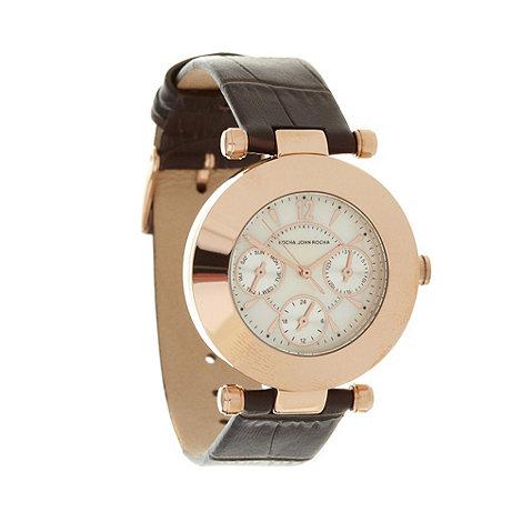 RJR.John Rocha - Designer ladies brown pearlescent mock chronograph dial watch