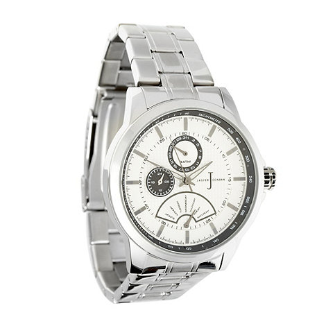 J by Jasper Conran - Designer men+s silver oversized chronograph dial watch