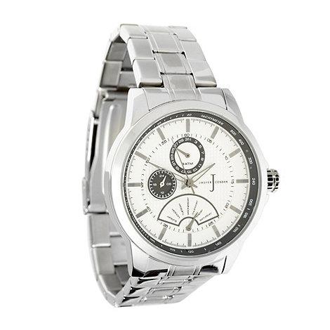J by Jasper Conran - Designer men+s silver oversized chronograph dial watch
