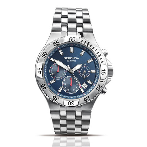 Sekonda - Men+s stainless steel chronograph dial watch