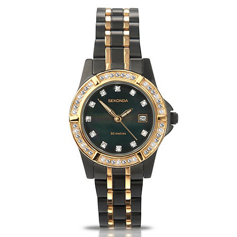 Sekonda - Ladies black two tone diamante bracelet watch