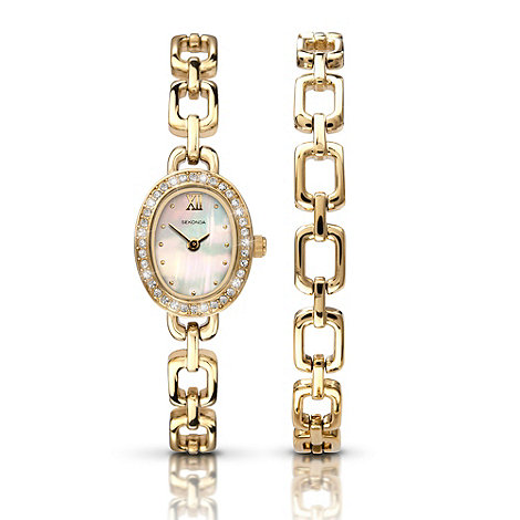 Sekonda - Ladies gold mother of pearl embellished watch and bracelet