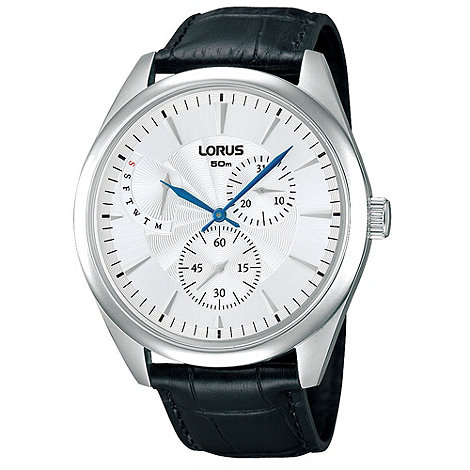 Lorus - Men+s black leather strap watch