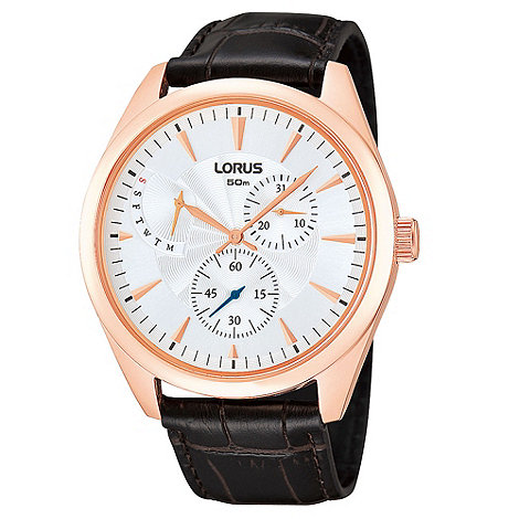 Lorus - Men+s black and rose gold croc strap watch