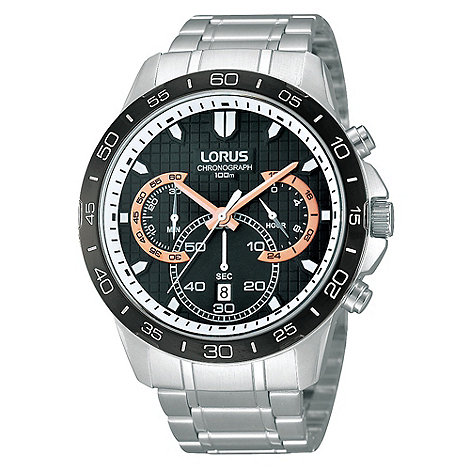 Lorus - Men+s stainless steel and rose gold bracelet strap watch