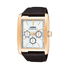 Lorus - Men's brown square dial croc strap watch