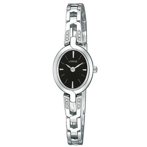 Lorus - Ladies silver and black crystal watch