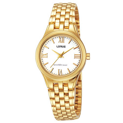 Lorus - Ladies gold and cream bracelet watch
