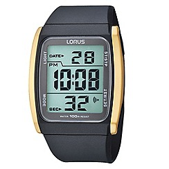 Lorus - Men's black and gold square digital watch