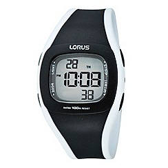 Lorus - Men's black and white square digital watch