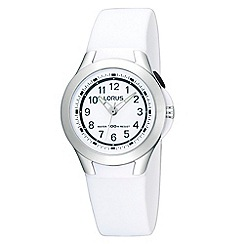 Lorus - Kids' white round dial rubber strap watch