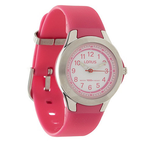 Lorus - Kids+ pink round dial rubber strap watch