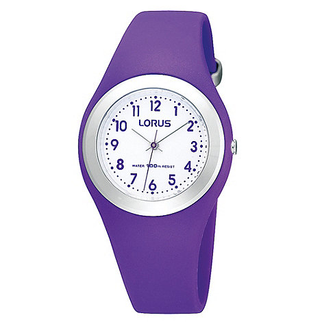 Lorus - Kids+ purple rubber strap watch