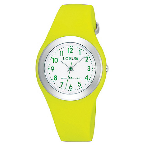 Lorus - Kids+ lime green round rubber strap watch