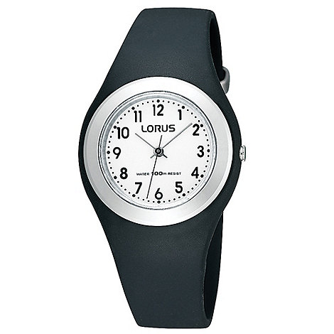 Lorus - Kids+ black round rubber strap watch r2395fx9