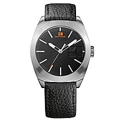 Boss Orange - Men's black textured strap watch