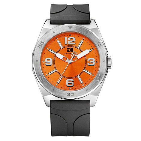Boss Orange - Men+s black and orange smooth strap watch