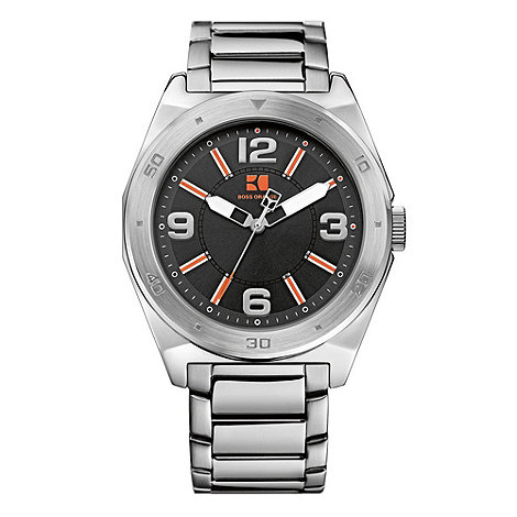 Boss Orange - Men+s silver and black watch 12369