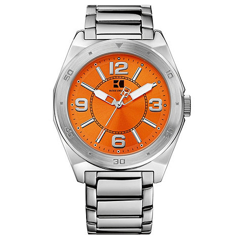 Boss Orange - Men+s silver and orange watch 12369