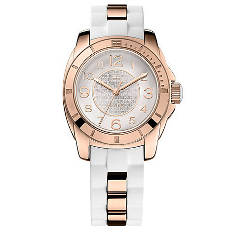 Tommy Hilfiger - Ladies white and rose gold watch
