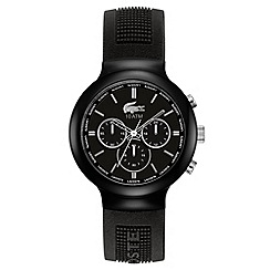 Lacoste - Men's black chronograph dial textured rubber strap watch