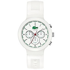 Lacoste - Men's white chronograph dial textured rubber strap watch