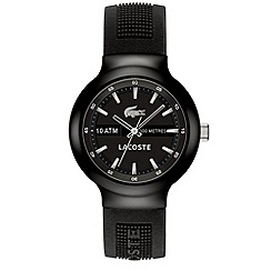 Lacoste - Men's black analogue dial rubber strap watch