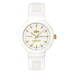 Lacoste - Men's white and gold analogue dial rubber strap watch