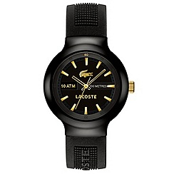 Lacoste - Men's black and gold analogue dial rubber strap watch