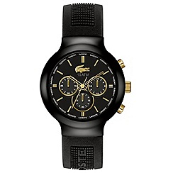 Lacoste - Men's black and gold chronograph dial rubber strap watch
