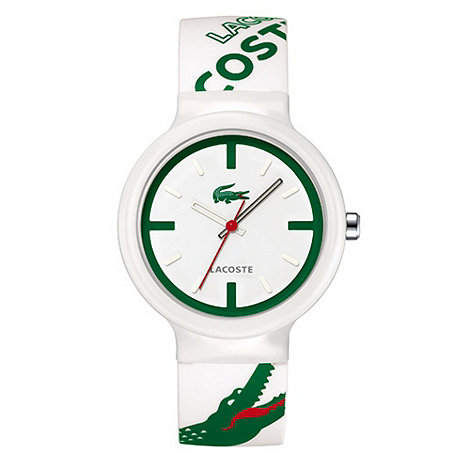 Lacoste - Men+s white analogue dial rubber strap watch