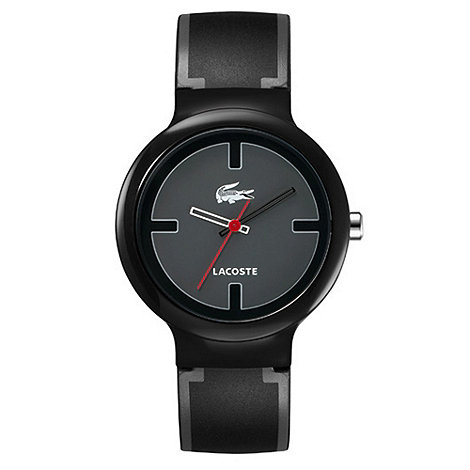 Lacoste - Men+s black analogue dial rubber strap watch