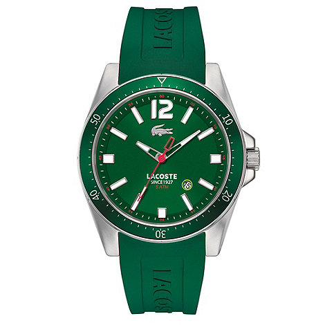 Lacoste - Men+s green branded rubber strap watch